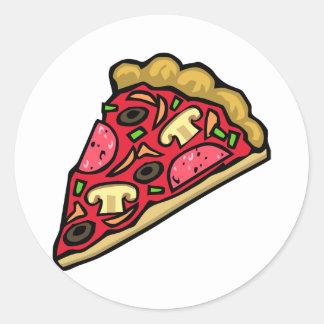 Rebanada de la seta y de la pizza de salchichones pegatina redonda