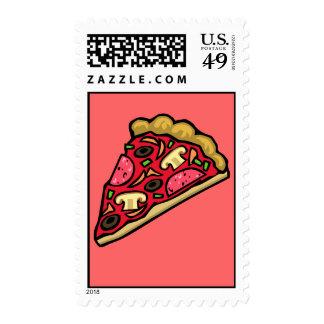 Rebanada de la seta y de la pizza de salchichones sello