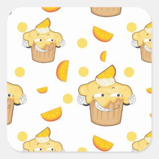 rebanada de la torta y del limón pegatina cuadrada