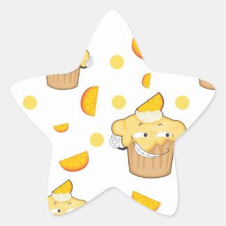 rebanada de la torta y del limón pegatina en forma de estrella