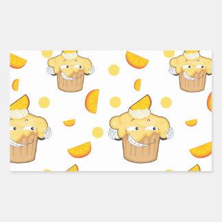 rebanada de la torta y del limón pegatina rectangular