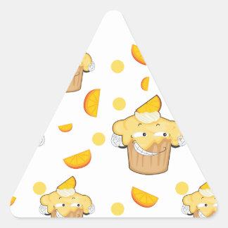 rebanada de la torta y del limón pegatina triangular
