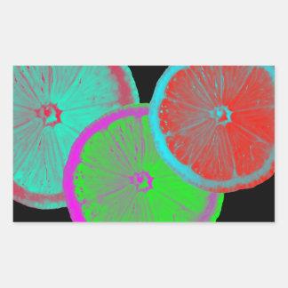 Rebanada de limón pegatina rectangular