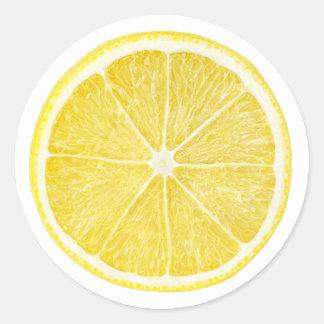 Rebanada de limón pegatina redonda