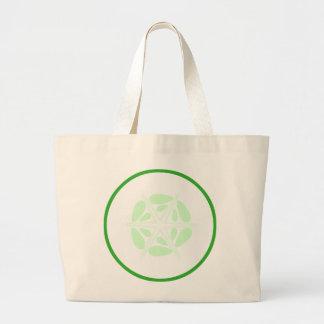 Rebanada de pepino. Verde y blanco Bolsa Lienzo