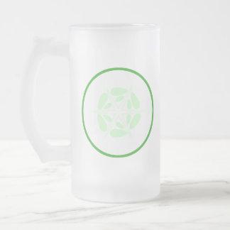 Rebanada de pepino. Verde y blanco Taza