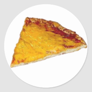 Rebanada de pizza etiqueta redonda