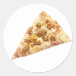 Rebanada de pizza pegatina redonda