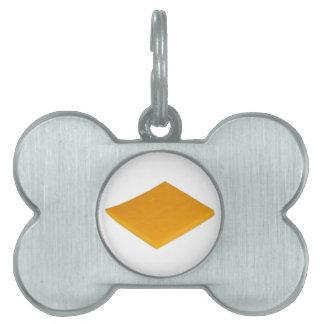 Rebanada de queso placas de nombre de mascota