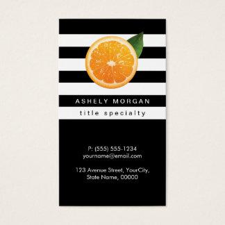 Rebanada de rayas anaranjadas del blanco del negro tarjeta de negocios