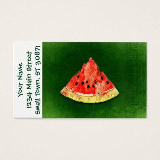 Rebanada de sandía en fondo verde tarjeta de negocios