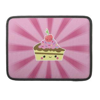 Rebanada de torta de Kawaii con una cereza en el t Funda Para Macbooks