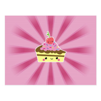 Rebanada de torta de Kawaii con una cereza en el t Tarjeta Postal