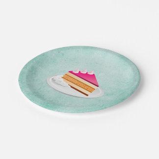 rebanada de torta en una textura verde del vintage platos de papel