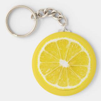 rebanada del limón llavero redondo tipo pin