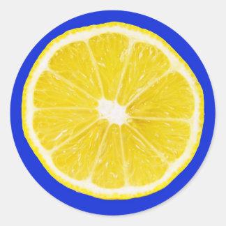 rebanada del limón pegatinas redondas