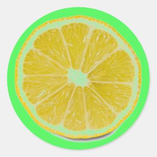 rebanada del limón pegatina redonda