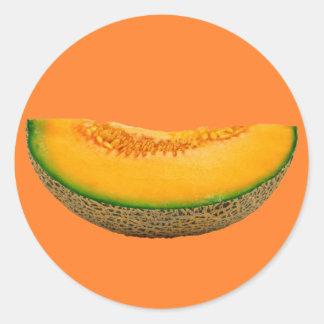 Rebanada del melón pegatina redonda