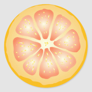 Rebanada del pomelo pegatina redonda