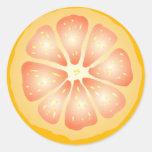 Rebanada del pomelo pegatinas redondas