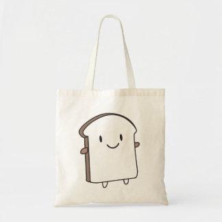 Rebanada feliz del pan bolsa tela barata