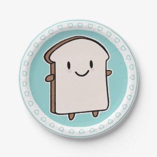 Rebanada feliz del pan platos de papel