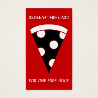 rebanada libre de cupón de la pizza tarjeta de negocios
