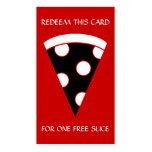 rebanada libre de cupón de la pizza tarjetas de visita