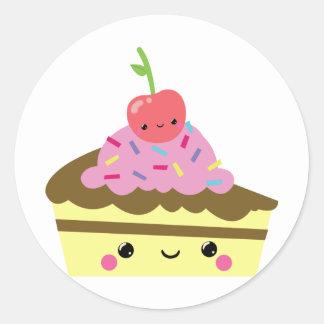 Rebanada linda de torta del helado de Kawaii Pegatina Redonda