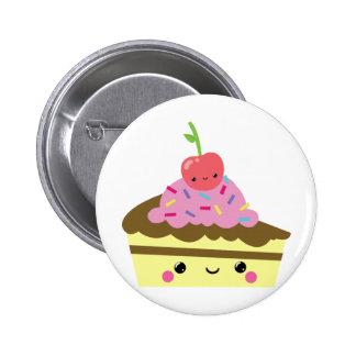 Rebanada linda de torta del helado de Kawaii Pin Redondo 5 Cm
