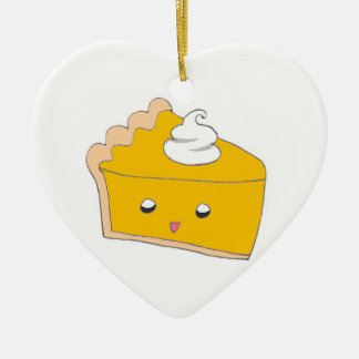 Rebanada linda del pastel de calabaza adorno navideño de cerámica en forma de corazón