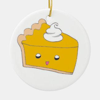 Rebanada linda del pastel de calabaza adorno navideño redondo de cerámica