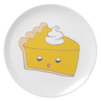 Rebanada linda del pastel de calabaza platos para fiestas