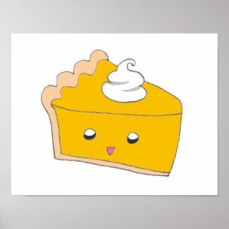 Rebanada linda del pastel de calabaza póster