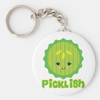 rebanada picklish de la salmuera del kawaii llavero redondo tipo pin