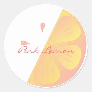 Rebanada rosada del limón etiquetas redondas