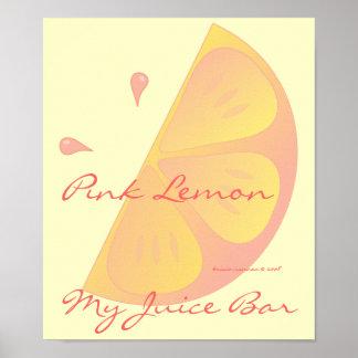 Rebanada rosada del limón póster