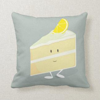 Rebanada sonriente de la torta del limón almohadas