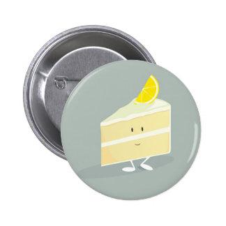 Rebanada sonriente de la torta del limón pin redondo de 2 pulgadas