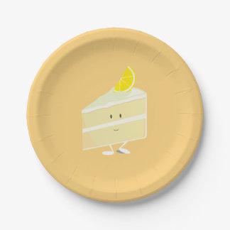 Rebanada sonriente de la torta del limón platos de papel