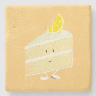 Rebanada sonriente de la torta del limón posavasos de piedra