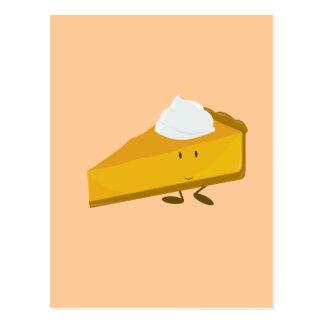 Rebanada sonriente de pastel de calabaza postal