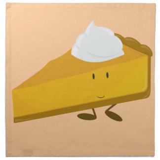 Rebanada sonriente de pastel de calabaza servilleta