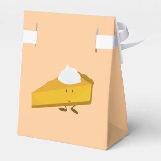 Rebanada sonriente del pastel de calabaza cajas para regalos de boda
