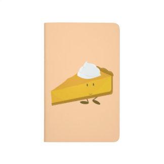 Rebanada sonriente del pastel de calabaza cuaderno