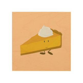 Rebanada sonriente del pastel de calabaza impresiones en madera