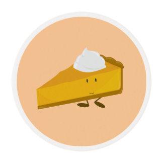Rebanada sonriente del pastel de calabaza papel de azúcar redondo