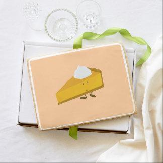 Rebanada sonriente del pastel de calabaza