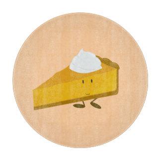 Rebanada sonriente del pastel de calabaza tablas de cortar