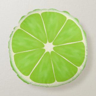Rebanada verde de la fruta de la cal de la fruta cojín redondo